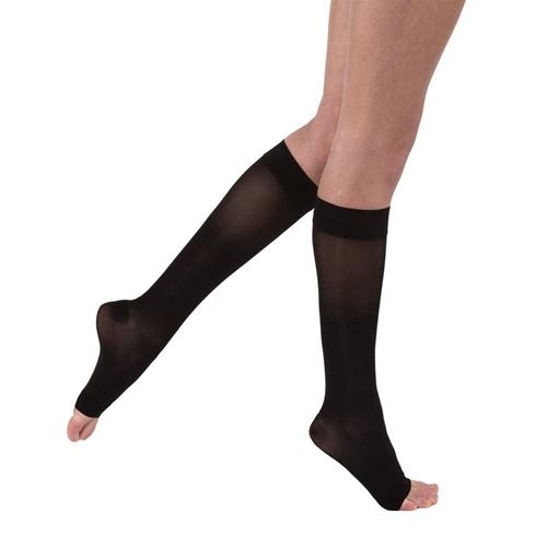 Picture of Knee High classic Black Open Toe 15-20 mmHg compression stockings