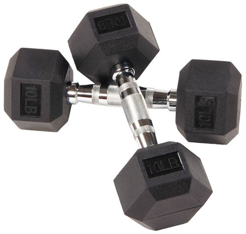 Picture of BalanceFrom Rubber Encased Hex Dumbbells, 10 lbs Pair