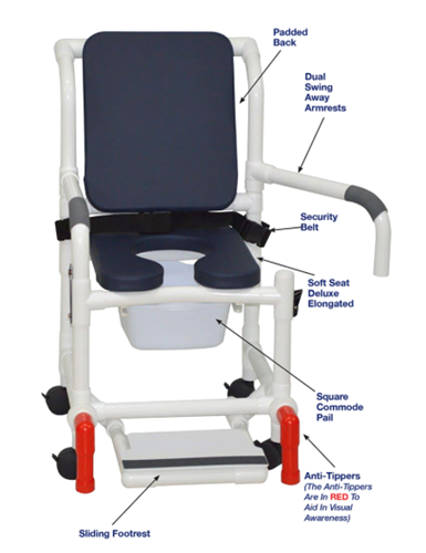 Picture of SHOWER CHAIR WITH SOFT SEAT DELUXE ELONGATED, CUSHION BACK, DUAL SWING AWAY ARMRESTS, SLIDING FOOTREST, SQUARE PAIL, SAFETY BELT AND ANTI-TIPPERS