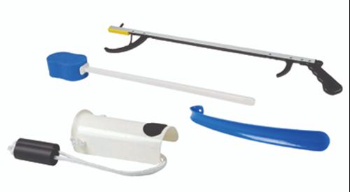 "Picture of FabLife™ Hip Kit: 26"" reacher, contoured sponge, formed sock aid, 18"" plastic shoehorn"