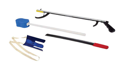 "Picture of FabLife™ Hip Kit: 32"" reacher, contoured sponge, flexible sock aid, 24"" metal shoehorn"