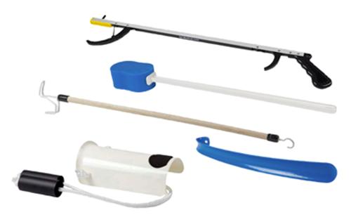 "Picture of FabLife™ Hip Kit: 26"" Reacher, contoured sponge, formed sock aid, 18"" plastic shoehorn, 24"" dressing stick"