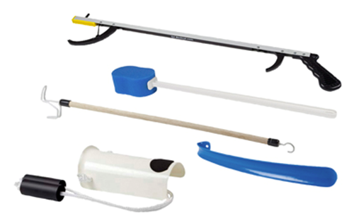 "Picture of FabLife™ Hip Kit: 32"" reacher, contoured sponge, formed sock aid, 18"" plastic shoehorn, 24"" dressing stick"