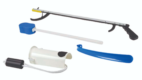 "Picture of FabLife™ Hip Kit: 32"" reacher, contoured sponge, formed sock aid, 18"" plastic shoehorn"