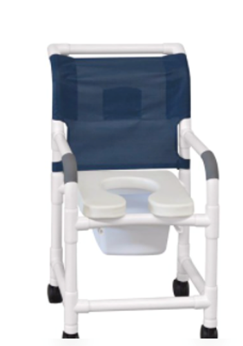 """Picture of Direct Supply® Premium Shower Chair, 20"""" Clearance, Commode, 300lb Weight Capacity, Open Seat Style - Seat Style: Open Upholstery Color: White**OVERSIZED**"""