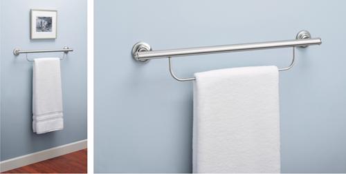 "Picture of Grab Bar Chrome 24"" Grab Bar With Towel Bar"