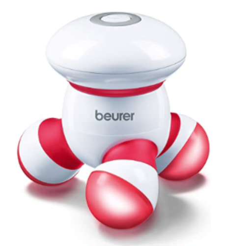 Picture of Beurer Handheld Mini Body Massager with LED light, Gentle and Comfortable Vibration, Easy Hand Grip, Portable, Gentle Pressure Point Massage, Massage Tool Easy Palm Fit, Batteries Included, MG16