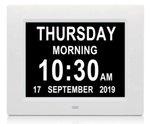 """Picture of 8"""" Full Text Day Clock"""