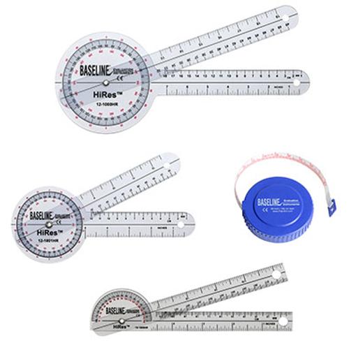 """Picture of Baseline Hi-Res Measuring Set (1 ea: 8"""", 12"""" 360 goniometer, 6"""" pocket goniometer, 60"""" tape)"""