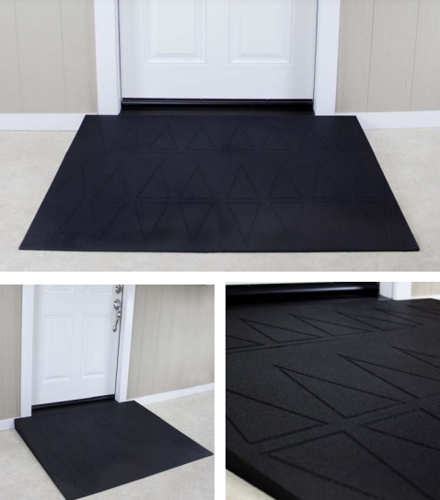"""Picture of EZ Edge™ Rubber Threshold Ramp 3 1/2"""" x 41 1/4"""" x 36"""" Black 4 Piece assembly"""