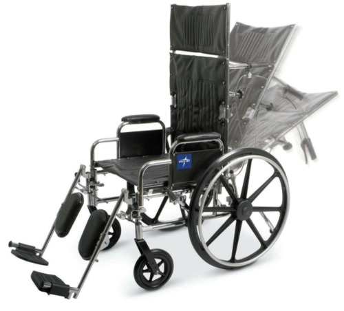 """Picture of Medline Excel Reclining Wheelchair with Removable Desk-Length Arms and Elevating Leg Rests, 300 lb. Weight Capacity, 16"""" Width"""