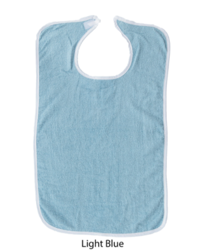 """Picture of 12 pack Terry Adult bib with VELCRO® brand Neck Closure-18"""" X 30""""- LIGHT BLUE"""